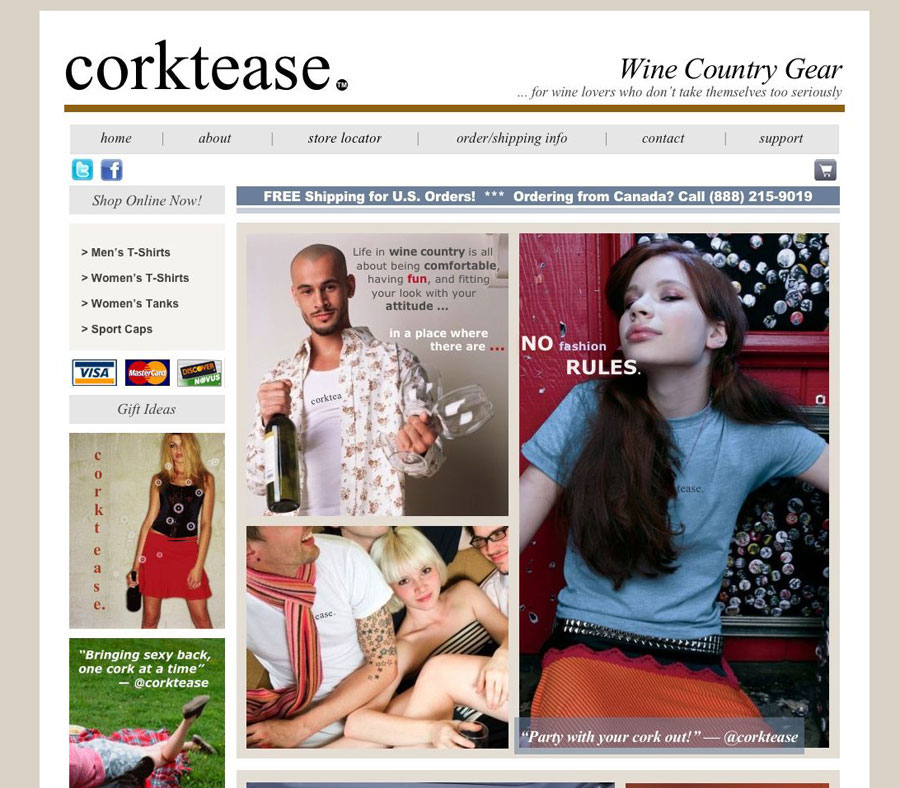 Corktease Wine Country, Miva Merchant v.5 CSSUI, XHTML and CSS
