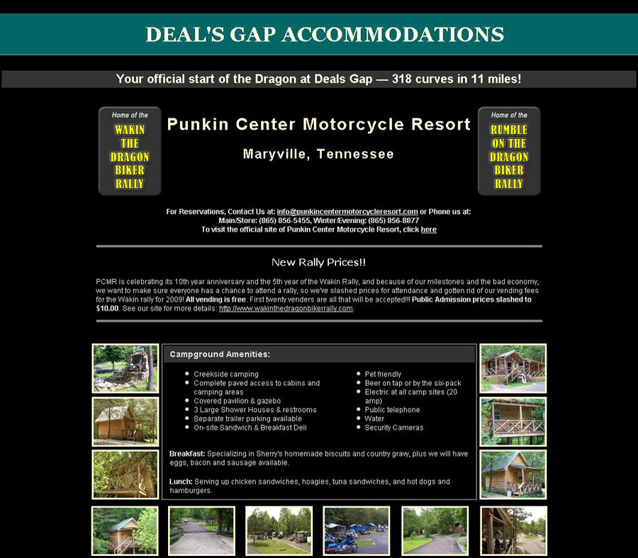 Deals Gap Accommodations - One-page site