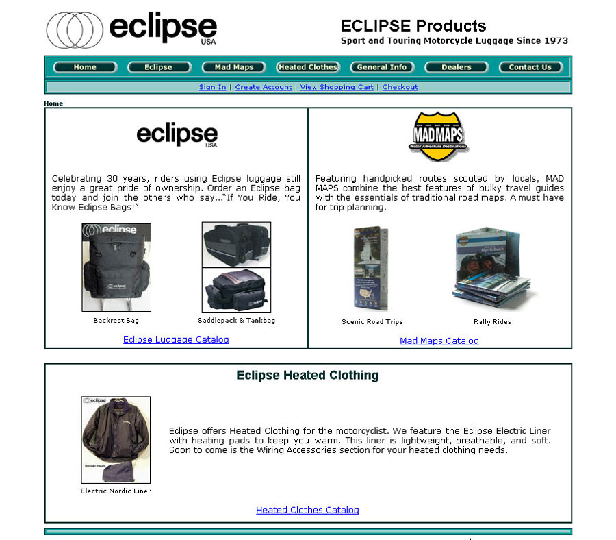 Eclipse Luggage, Miva Merchant v.4 Cart MMUI, HTML and CSS