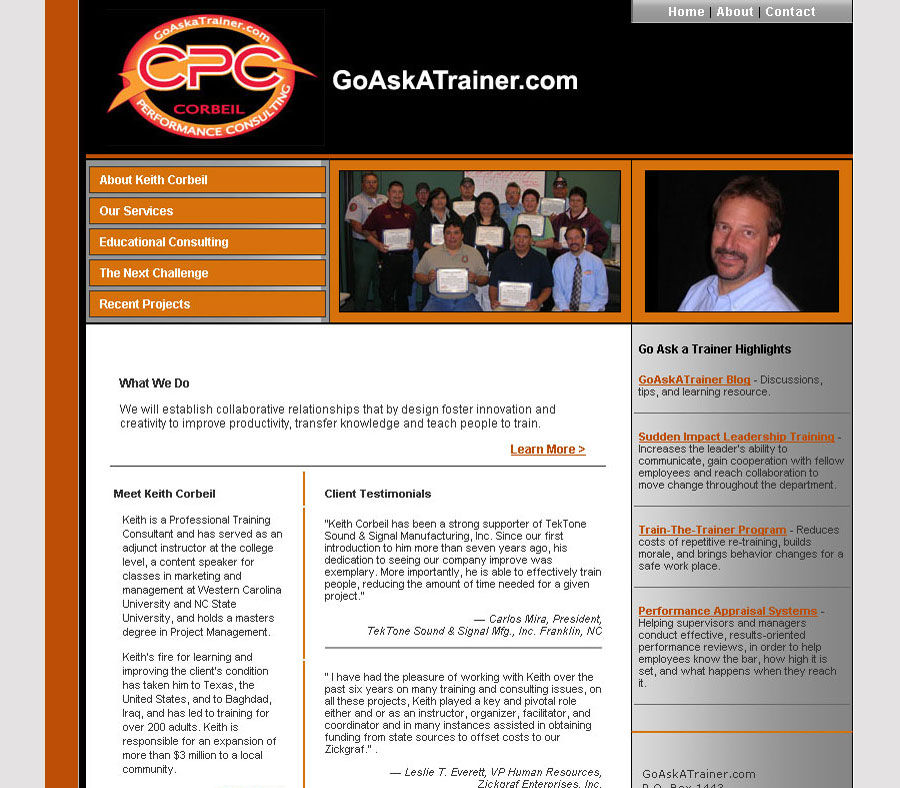 Go Ask A Trainer - Consultant & Motivational Speaker Website